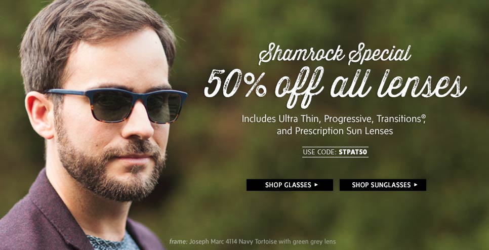 Save 50% off all lens includes ultra thin lenses, progressives, transitions, and more at ClearlyContacts.com.au
